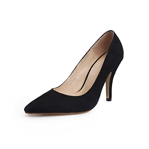 VogueZone009 Womens Closed Toe Pointed Toe Toe High Heels Silk Frosted Solid Pumps Black