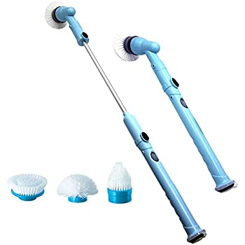 NPOLE Cordless Power Spin Scrubber Household Electric Cleaning Brush with Rechargeable Battery for Bathroom, Kitchen, Tile, Multi-Purpose Surface, With 3 Spin Scrubber Brush Heads & 1 Adapter (Blue)