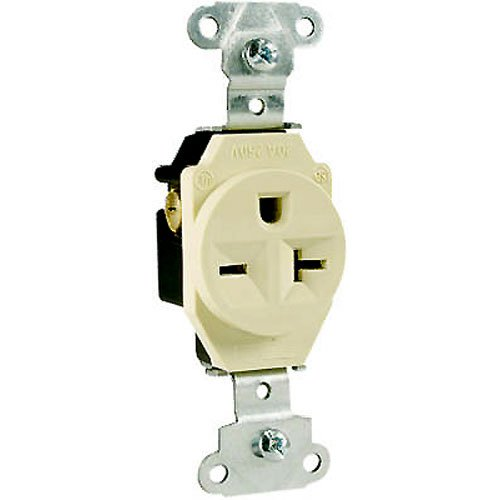 (Legrand-Pass & Seymour 5851ICC8 Specification Grade Single Receptacle 20-Amp 250-volt, Ivory)