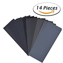 14Pcs Wet Dry Sandpaper 120 to 3000 Grit Assortment 9 3.6 Inches Abrasive Paper Sheets for Automotive Sanding, Wood Furniture Finishing, Wood Turing Finishing