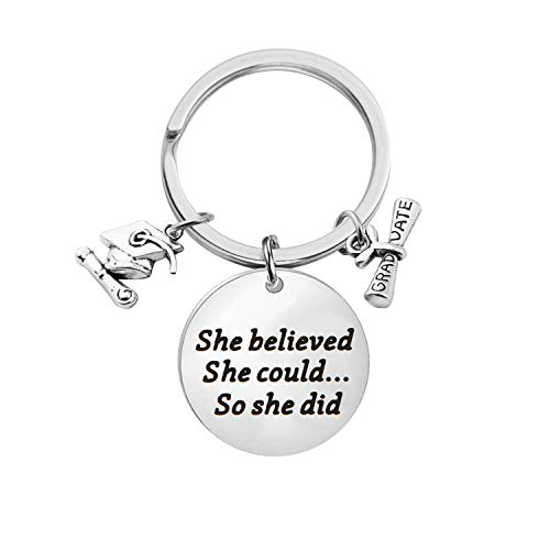Lywjyb Birdgot Graduation Gift She Believed She Could So She Did Graduation Keychain Gift Graduates (She Believed Graduation Keychain) -