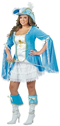 Musketeer Costume Female (Funworld Womens Disney Sexy Madam Musketeer Theme Party Fancy Halloween Costume, One Size (16-20))