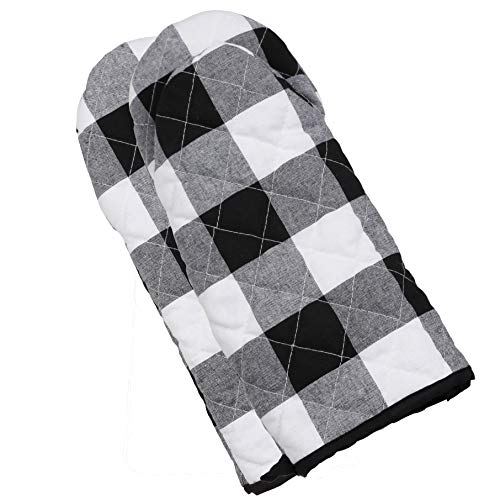 (famibay 1 Pair Cotton Linen Plaid Oven Mitts Classic Checker Extended Heat Resistant Potholder Microwave Oven Glove for Kitchen Cooking, Baking & BBQ - Black & White 13.5 Inch)