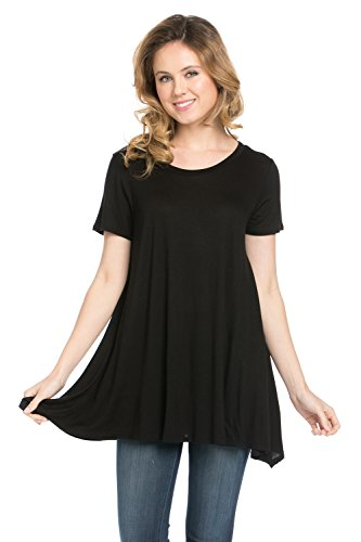 Short Sleeve Comfy Loose Fit Long Tunic Top