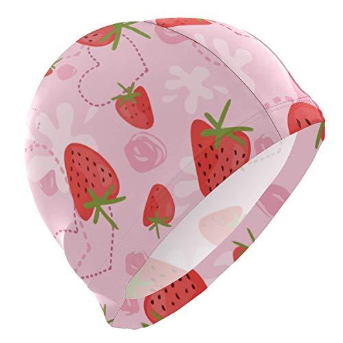 allgobee Strawberry Yogurt Love Pink Lycra Swim Cap Swimming for Women Men