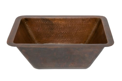 Premier Copper Products BRECDB3 Universal Rectangle Copper Sink with 3.5-Inch Drain Size, Oil Rubbed Bronze by Premier Copper Products