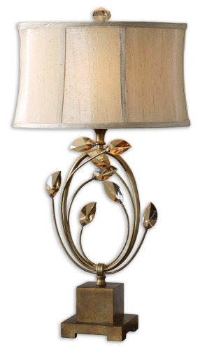 (Hollywood Regency Burnished Gold Metal & Crystal Table Lamp)