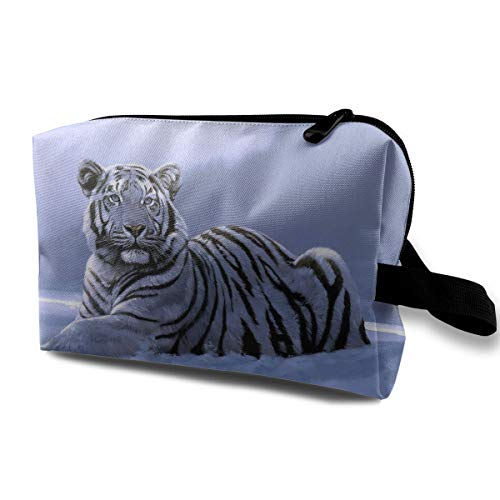 With Wristlet Cosmetic Bags Snow Tiger Travel Portable Makeup Bag Zipper Wallet Hangbag -
