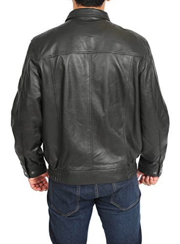 Up Jim Style Soft Jacket Blouson Fit Black Mens Bomber Zip Classic Leather ngqZBWWvw0