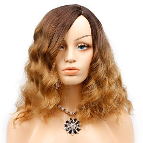 Light Brown Ombre Curly Bob Wig 2 Tone Wig Brown to Blonde Short Wavy Wig Side Part Girls Party Daily Wig 14 inches