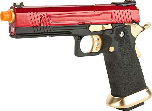 Evike AW Custom Split Frame Hi-Capa Competition Grade Gas Blowback Airsoft Pistol (Color: Gold/Red)