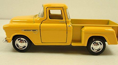 (Kinsmart 1955 Chevy Stepside Pick up truck 1:32 scale diecast model Yellow K15 NKS)