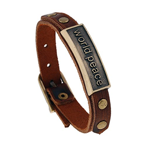 MORE FUN Fashion Ornaments Motivational Inspirational Words Leather Bracelet Brown (world peace)