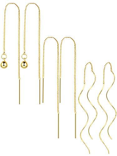 Tatuo 3 Pairs Tassel Threader Dangle Earrings Long Chain Ear Linear Earring Twisted Drop Earring for Women Girls Favors, 3 Styles ()