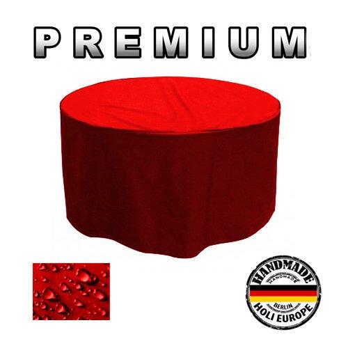 PREMIUM Gartentisch Abdeckung Gartenmöbel Schutzhülle RUND ø 205cm x H 90cm Rot