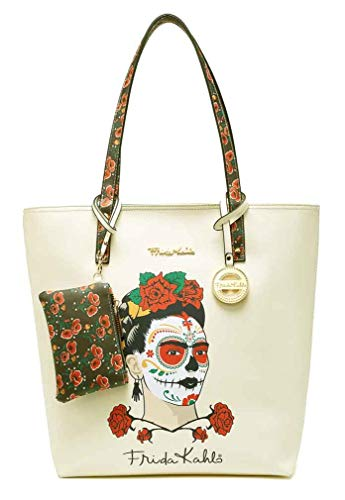 (Frida Kahlo Licensed Large Beige Purse with Coin Purse, Tote Style (Sugar Skull))