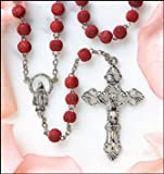 Rose Scented Carved Rose Petal Rosary - Case Pack 48 SKU-PAS703637