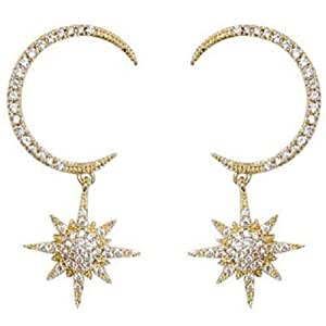 Star Moon Earring Zircon Earring 18k Gold-plated Unique All Diamond Exaggerated Crescent Eight Earrings