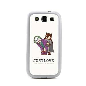 New - The Joker & Batman Just Love Cartoon Embossed Design White Bumper Plastic+TPU Case Cover for Samsung Galaxy S3 SIII I9300