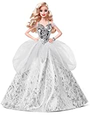 Barbie Signature 2021 Holiday Barbie Doll in Silver Gown with Doll Stand and Certificate of Authenticity, Gift for 6 Year Olds and Up