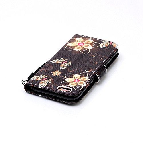 Funda de piel para Smartphone Apple iPhone 6(4.7pulgadas), funda tipo libro con tarjetero, función atril + tapón anti-polvo negro 6 1