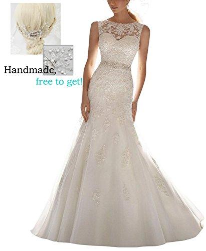 Femicuty Latest Sleeveless Lace Appliques Bridal Dress Wedding Gown Custom Size