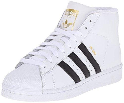adidas Originals Pro Model J Fashion Sneaker (Little Kid/Big Kid), White/Black/White, 6 M US Big Kid (Microfiber Youth Shell)