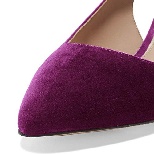 FSJ Women Classy Slingback Pumps Velvet Kitten Mid Heels Pointy Toe Comfort Dress Shoes Size 4-15 US Fuchsia-suede Inexpensive sale online cheap price outlet sale free shipping cheap price outlet cheapest price w3YKp