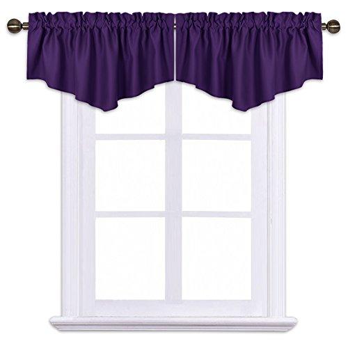 Curtains Eggplant (NICETOWN Blackout Valances Short Curtains - W52-inch 18-inch Ascot Half Window Drapes Basement Rod Pocket (Royal Purple, 2 Panels per Package))