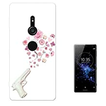 "002996 - White Fake Gun Shooting Floral Roses Flowers Peace Design Sony Xperia XZ2 Premium 5.8"" Fashion Trend Case Gel Silicone All Edges Protection Case Cover"