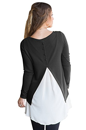 Miyarooma Women Lace Hem Top Long Sleeve Sweater Irregular Peplum Back Open Knit Pullover Black L Lace Edge Tunic Sweater