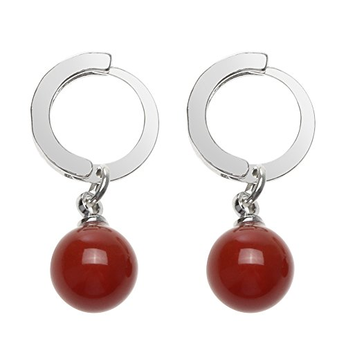 Diamondo Artificial Agate Jade Ruby Silver Plated Pendant Ornaments Earrings Women (red)