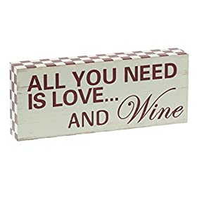 Barnyard Designs All You Need is Love and Wine Wooden Box Wall Art Sign, Primitive Country Farmhouse