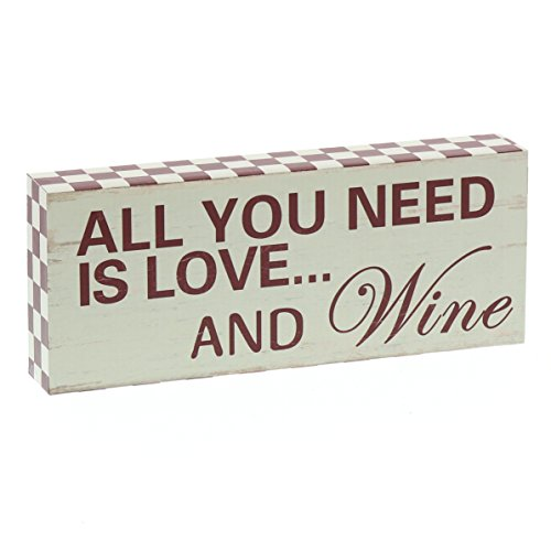 Barnyard Designs All You Need is Love and Wine Wooden Box Wall Art Sign, Primitive Country Farmhouse Home Decor Wine Sign with Sayings 10