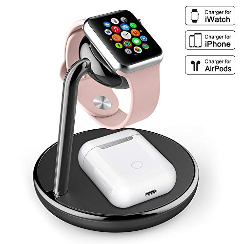 amBand Charger Compatible with Apple Watch Series 1/2/3/4, 2 in 1 Charging Stand Station Compatible with AirPods Wireless Charging Case, iPhone Xs/X Max/XR/X/8, Samsung Galaxy S10/S9/S9+/S8