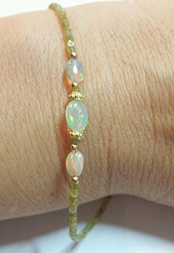 Genuine 6CT cube square cut YELLOW DIAMOND ETHIOPIAN FIRE OPAL BRACELET SOLID 14K GOLD ()