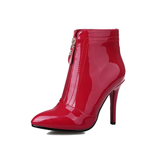 AllhqFashion Womens Closed Toe Blend Materials Low-Top Solid Zipper Boots Red-Stiletto 23sQEusg