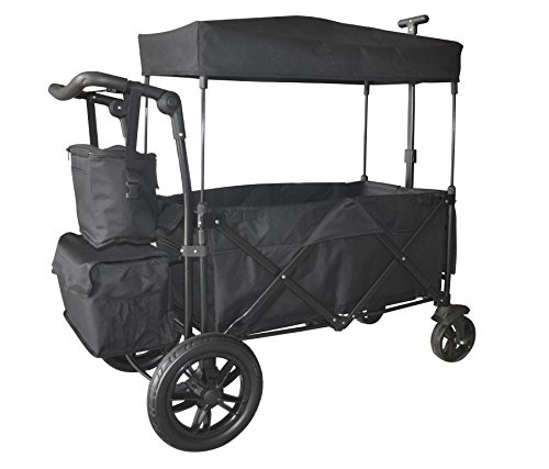 - BLACK PUSH AND PULL HANDLE WITH REAR FOOT BRAKE FOLDING STROLLER WAGON W/ CANOPY OUTDOOR SPORT COLLAPSIBLE BABY TROLLEY GARDEN UTILITY SHOPPING TRAVEL CARTFREE CARRYING BAG - EASY SETUP NO TOOL NEED