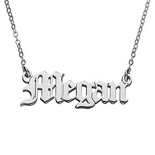 Personalized Old English Font Name Custom Pendant Necklace Retro Nostalgia Style (Silver)