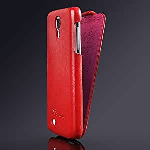 JUJEO Fashion Vertical Flip Crasy Horse Leather Shell for Samsung Galaxy S4 - Non-Retail Packaging - Red
