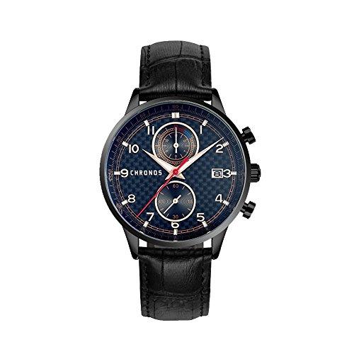 k Leather Quartz Waterproof Watch With Chronograph Analog Calendar Dial (Black Chrono Strap)