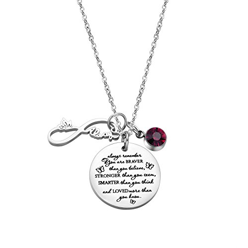 - Fullrainbow You are Braver Than You Believe Stainless Steel February Birthstone Necklace Gift for Girls