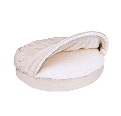 1 Piece Cream Orthopedic Small 26 Inches Snuggery Burrow Comfort Pet Bed, Beige Color Ortho Dog Foam Mattress Bedding Zippered Removable Cover Hood Flexible Hoop, Faux Sheepskin Durable Polyester