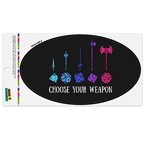 Graphics and More Choose Your Weapon Dungeon RPG Dice Automotive Car Refrigerator Locker Vinyl Euro Oval Magnet