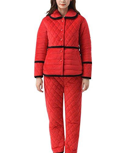 QPALZM, Sra Europa Y América Invierno De Espesor Super Suave Pijama De Franela Calientes Red
