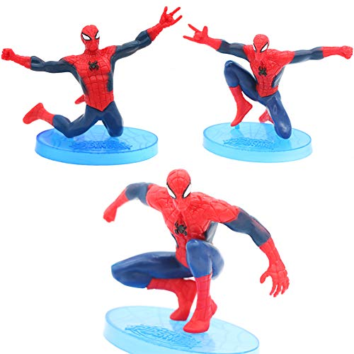 Cartoon Mini Spiderman Figures Cake Topper Solid PVC Movie Heroes For Children Birthday Cake Decoration (3pcs)