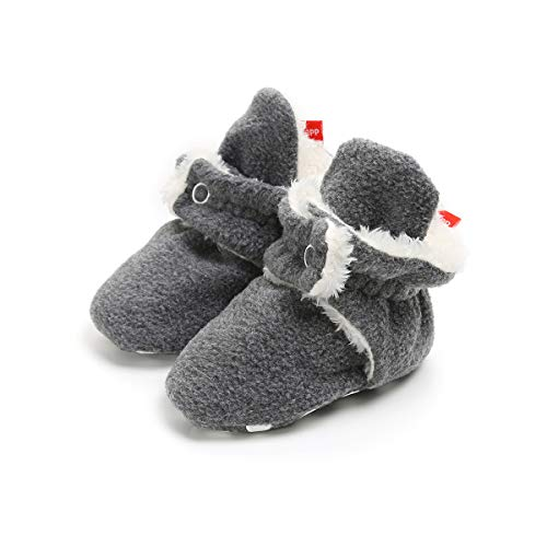 ENERCAKE Baby Boys Girls Cozy Fleece Booties with Non-Slip Bottom Warm Winter Slippers Infant Crib Shoes(0-6 Months Infant,A-Dark Grey)