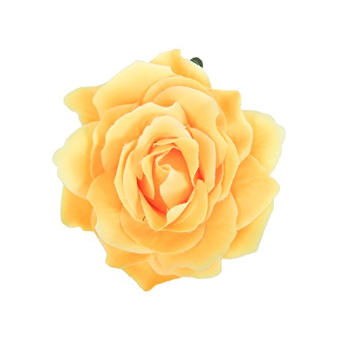 CoCoHe Rose Flower Hair Clips for Women Hair Accessories Wedding (Yellow)