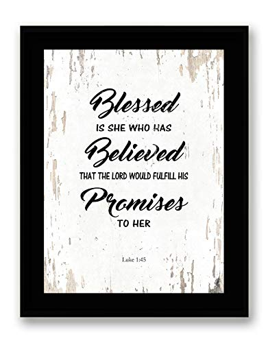 Art Hub Blessed is She Who Has Believed - Framed - Bible Verse Quote Canvas Print, Black Real Wood Frame, White, 7x9 (Black And White Bible)
