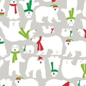 Trendy POLAR BEAR w/Scarves Christmas Gift Wrap Paper - 16 Foot Roll